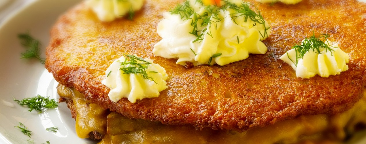 Gypsy Potato Pancake with Hungarian Goulash